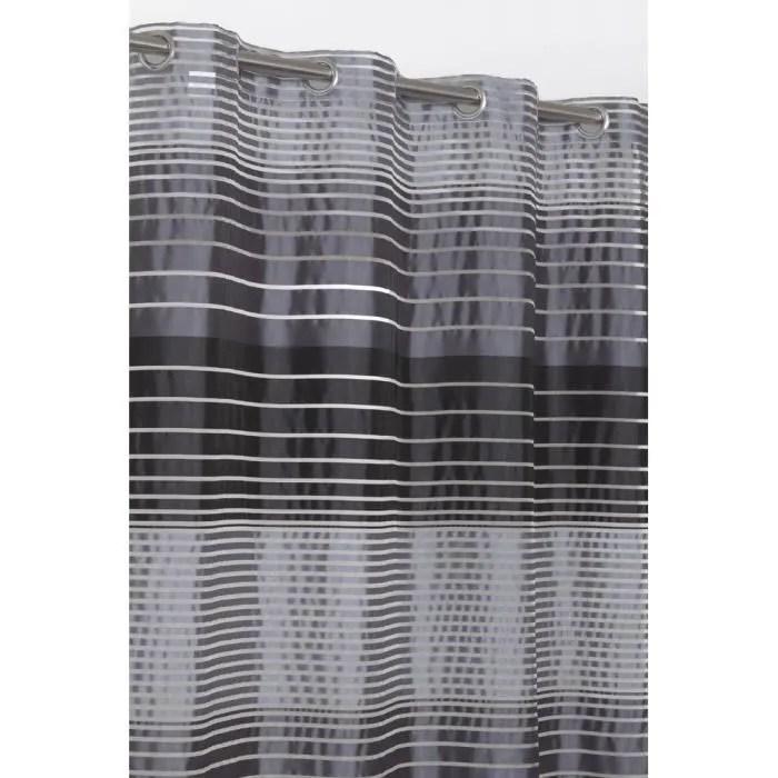 rideau voilage raye 140x240 cm noir