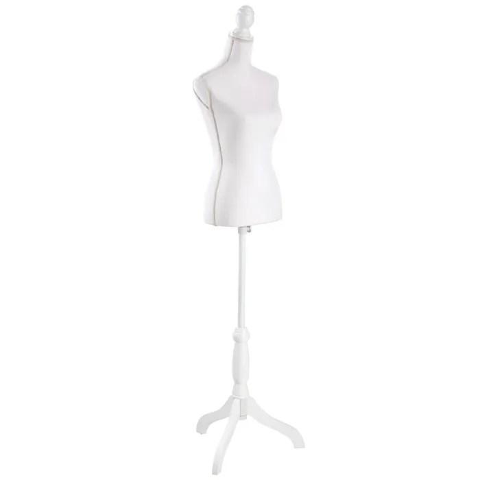 tectake mannequin de couture de vitrine buste decoratif de femme reglable 77 cm x 38 cm blanc