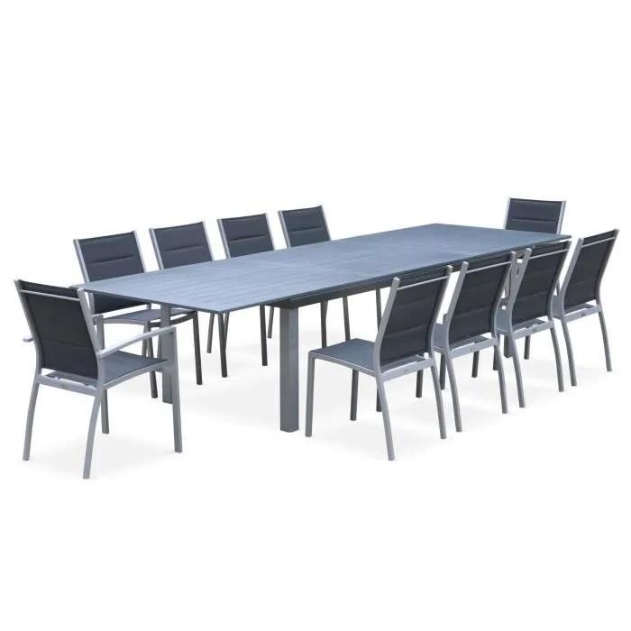salon de jardin table extensible odenton gris grande table en aluminium 235 335cm avec rallonge et 10 assises en textilene