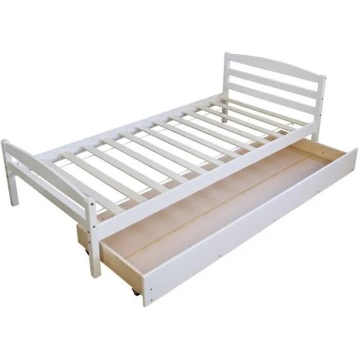 lit simple 1 personne 90x200cm sommier a lattes et tiroir de rangement blanc lit060077