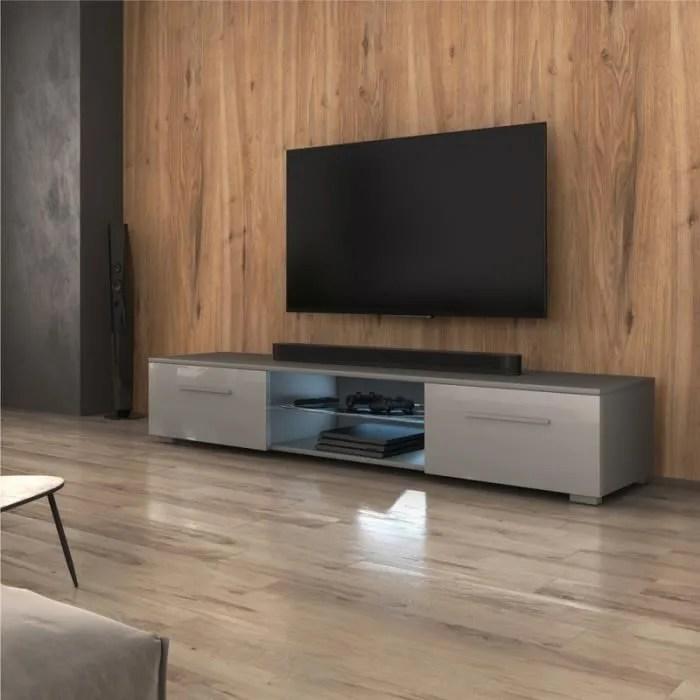 meuble tv meuble salon syvis 140 cm gris mat gris brillant avec led style moderne