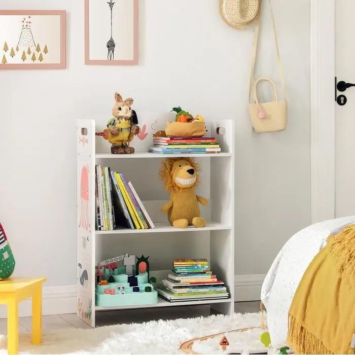songmics bibliotheque pour enfants a 3 niveaux etagere de rangement pour enfants 62 5 x 26 5 x 88 cm blanc gkrs03wt