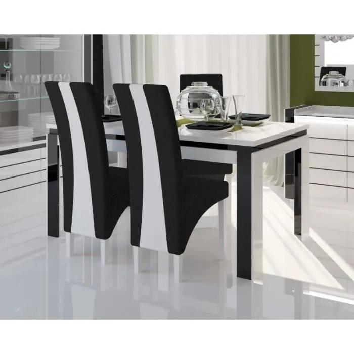 table 180 cm 6 chaises lina table pour salle a manger brillante blanche et noire avec 6 chaises simili cuir meubles design