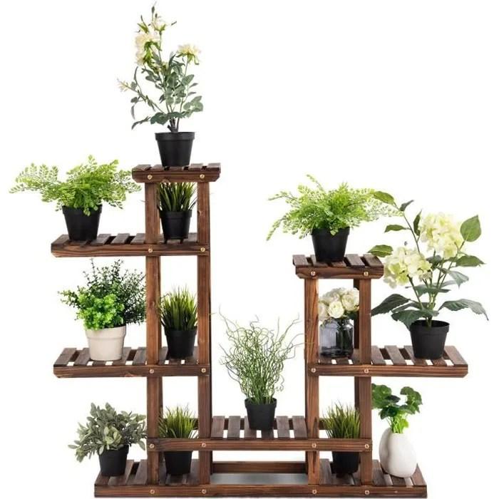 etagere pour plantes support de pot 6 niveau de rangement en sapin pour decoration a l interieur ou a l exterieur 96x25x96 cm