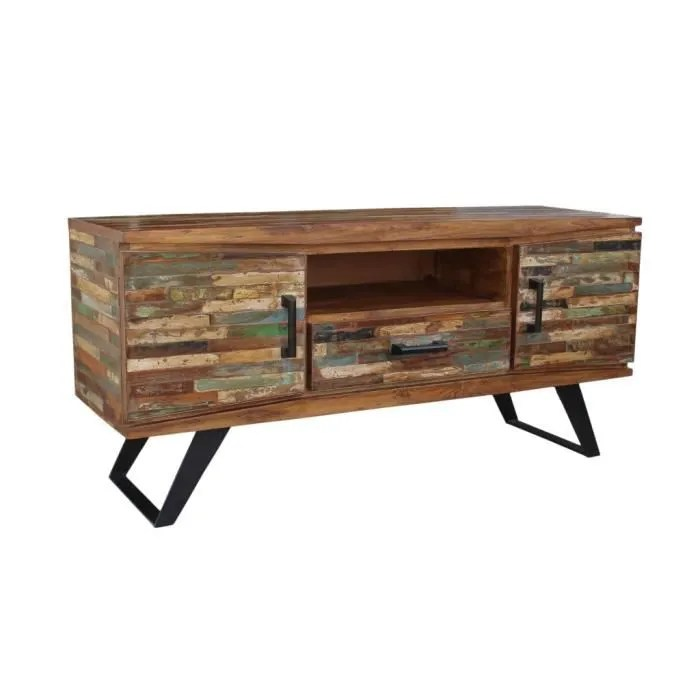 meuble tv bois recycle patine meuble house marron