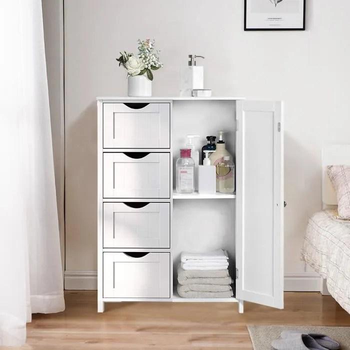 haute qualite meubles de rangement pour chambre salle de bain commode armoire blanc 4 tiroirs 1 porte