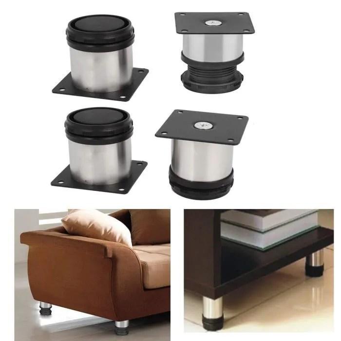 lot de 4 pieds de meubles reglables ronds en acier inoxydable de cuisine 50 x 50 mm