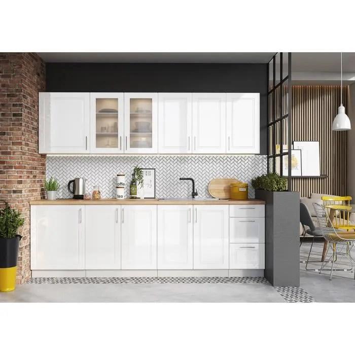 jazzi cuisine complete modulaire lineaire l 260cm 8 pcs ensemble armoires meubles cuisine finition blanc laquee gris mat