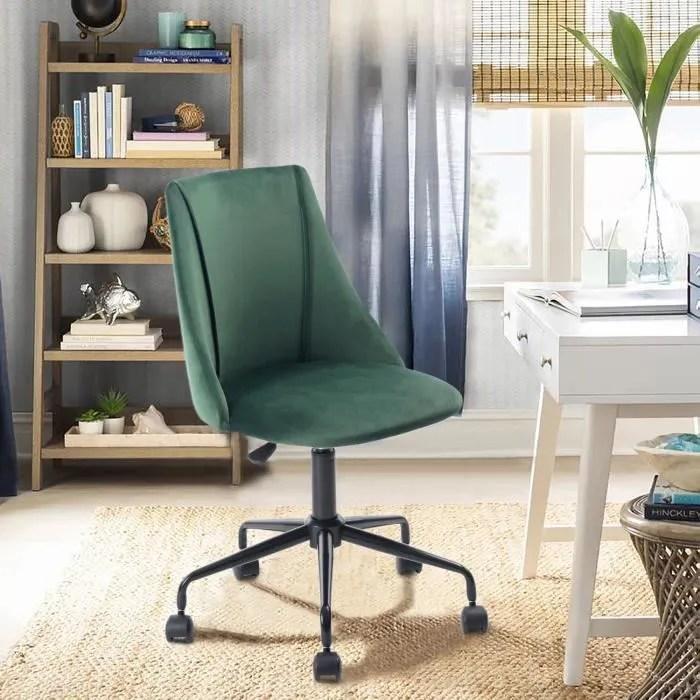 chaise de bureau verte velours metal
