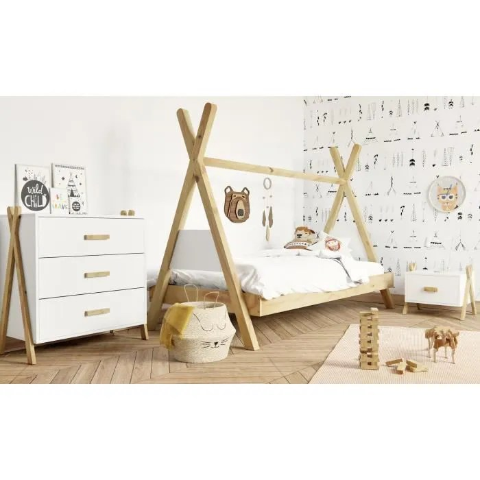 amarok chambre complete enfant lit chevet commode pin massif et mdf blanc naturel style scandinave