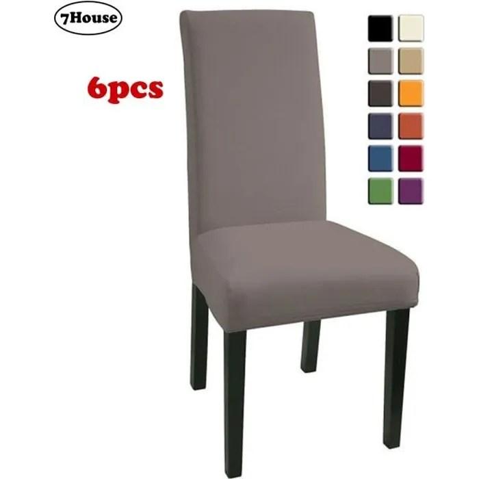 7house lot de 6 housses de chaise bi elastique gris