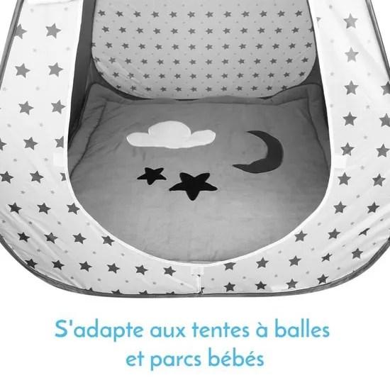 tapis de jeu de sol d eveil ou de parc bebe enfant molletonne 1m x 1m gris