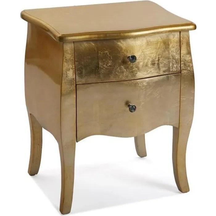 table de chevet avec 2 tiroirs dore l 50 x l 39 x h 60 cm
