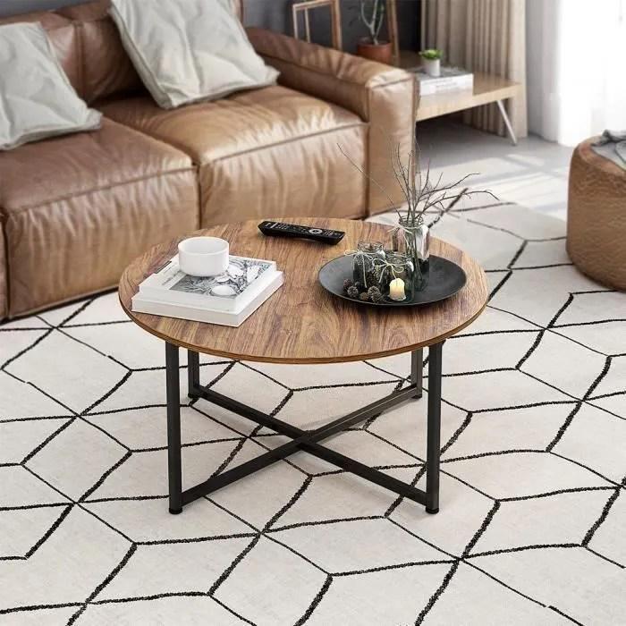 brun et noir table basse de salon rond style