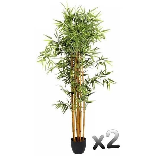 lot de 2 plantes artificielles bambou pot haut