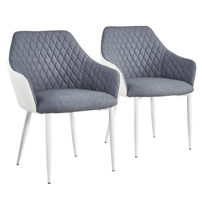 lot de 2 chaises fauteuils louisa gris