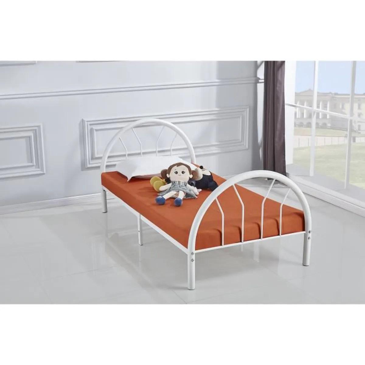lit metal 90x190 cm blanc kiny avec