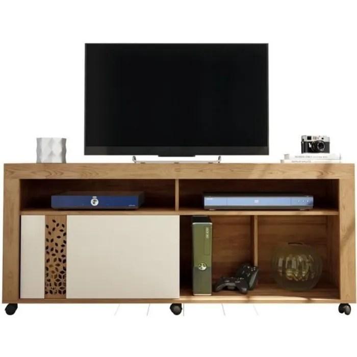 meuble tv 65 pouces maxi chene et ecru caemmum