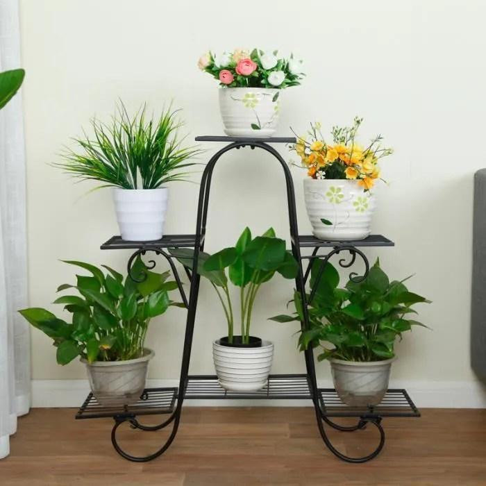 tempsa meuble support pour plante etagere porte pot de plant 74x21x72cm noir