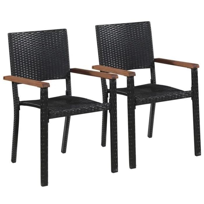 chaise d exterieur 2 pcs resine tressee noir