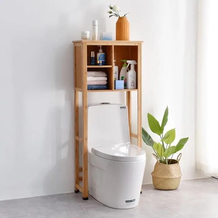 meuble dessus toilette bamboo armoire dessus toilette etagere de salle de bain en bois bamboo 55 x 27 7 x 133 cm
