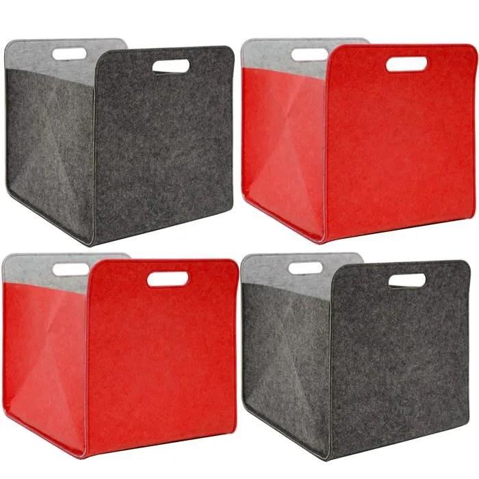 4 boites de rangement feutre 33x33x38 cm kallax panier feutrine ikea gris rouge