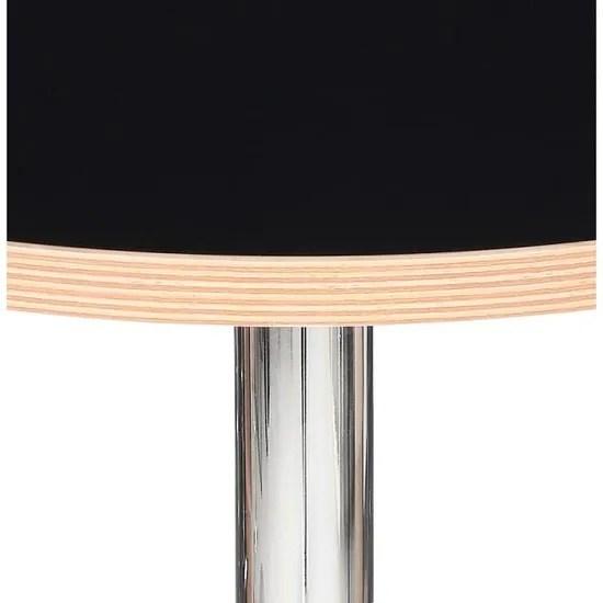 table ronde casto round noire et pied chrome o 80 cm