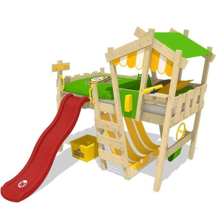 lit enfant avec toboggan lit mezzanine en plusieurs combinaisons de couleurs 90x200 cm wickey crazy hutty