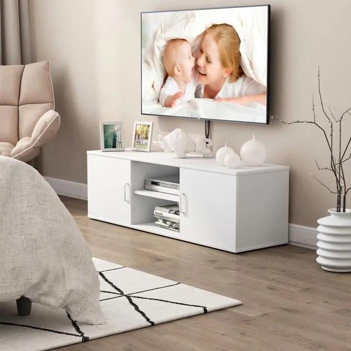 langria meuble tv 120x40x40cm contemporain avec grande systeme de stockage pour salon chambre a coucher blanche
