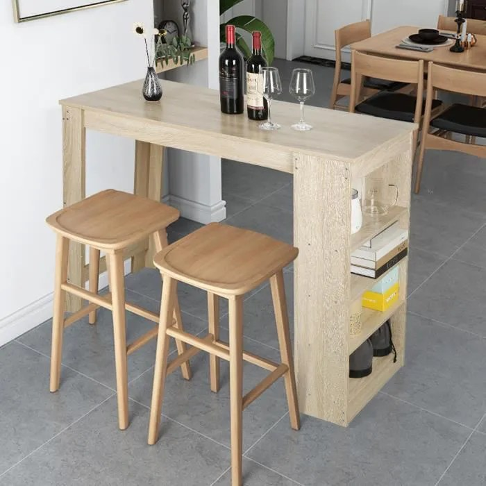 tongjaa table de bar table de cuisine salle a manger mange debout 115 50 103cm