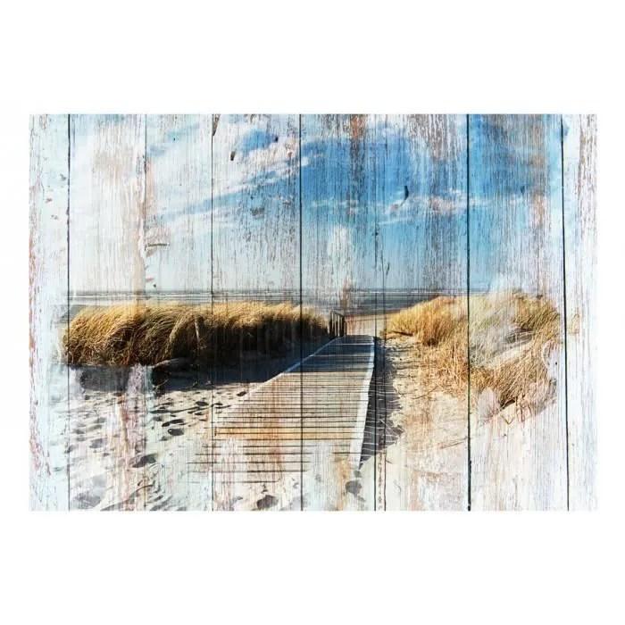 de 300x210 style papier peint texture dessin fond bois paysage plage mer retro vintage bleu