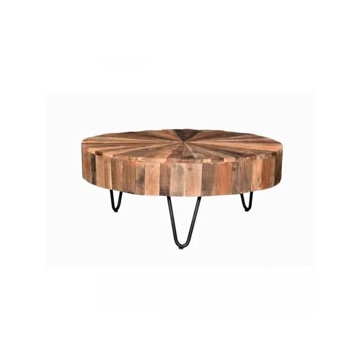 table basse en bois recycle bangalore marron pieds metals bois recycle effet tronc d arbre