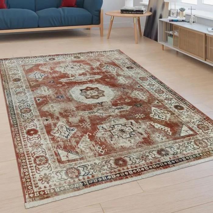 tapis poils ras salon bordure design oriental aspe