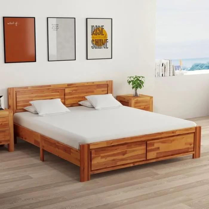 coco cadre de lit bois d acacia massif 160x200 cm