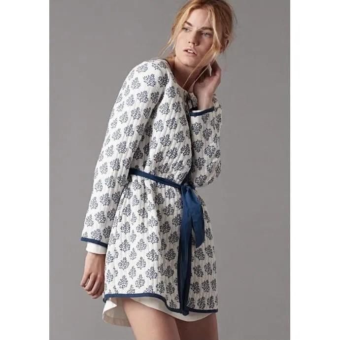 Robe De Chambre Legere Courte Ete Coton Femme Blanche Achat Vente Robe De Chambre Cdiscount