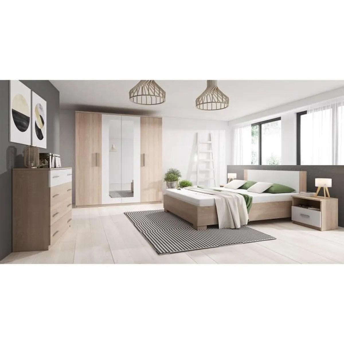 chambre complete marco bois et blanc