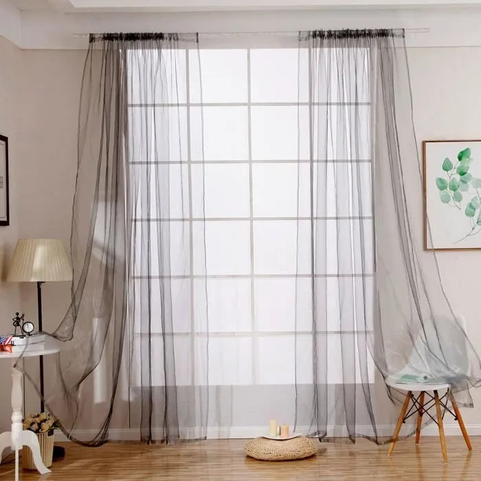 1 panneau 100x200cm rideau voilage porte fenetre