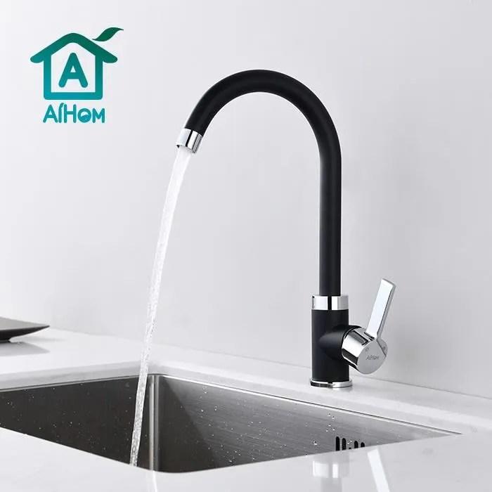 aihom mitigeur evier cuisine rotatif a 360 robinet noir surface chrome corps en laiton durable mousseur remplacable economie d eau
