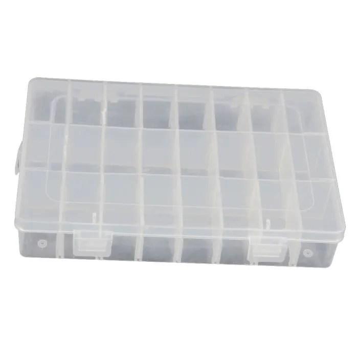 24 compartiments amovibles transparent