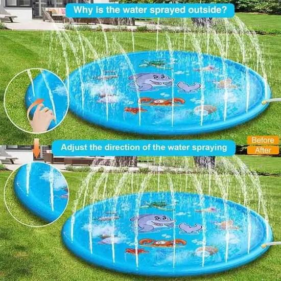 tapis enfant de jet d eau 170cm tapis de pulverisation d eau eau piscine pvc durable gonflable jeux et jouets de plein air d ete