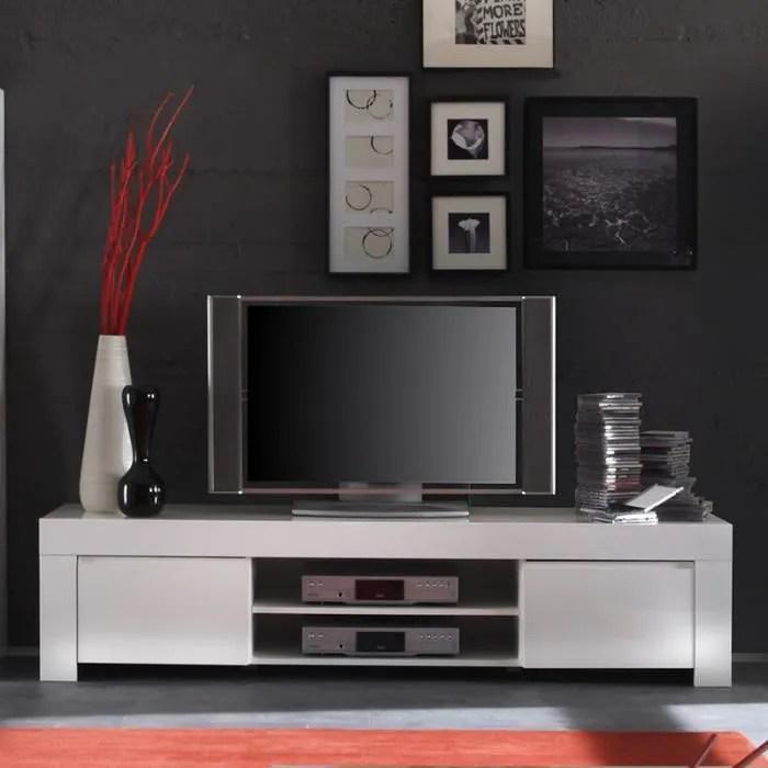 meuble tv blanc laque design tripoli 140 cm
