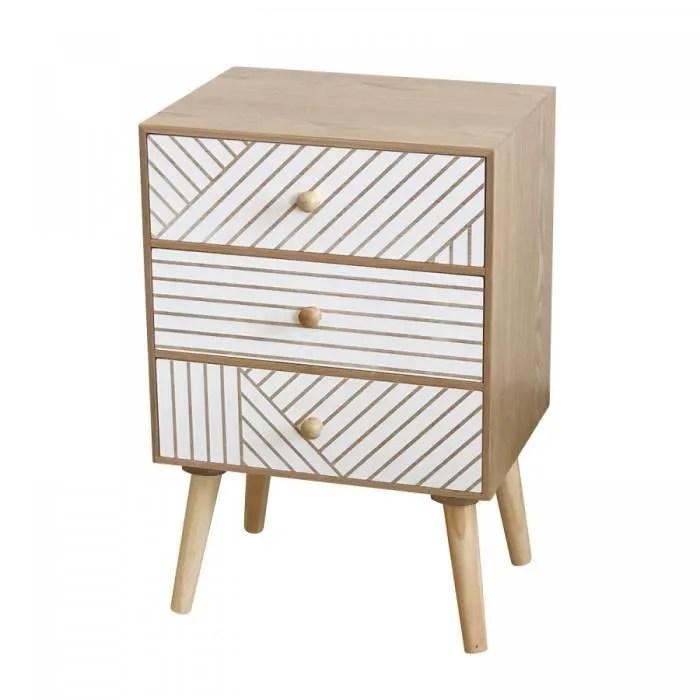table de chevet 3 tiroirs plus iana 30 cm madera clara