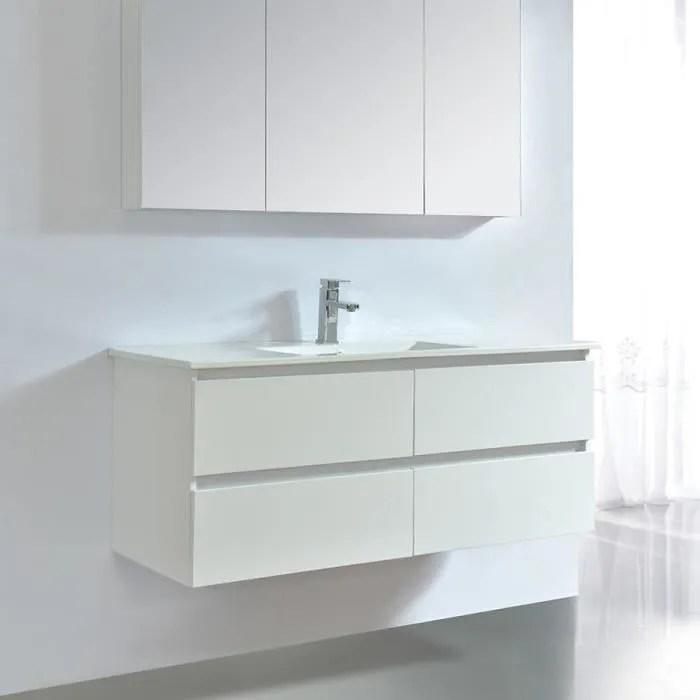 Meuble Salle De Bain 120 Cm Grande Vasque Ceramique Achat Vente Pas Cher
