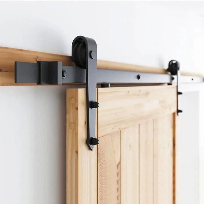 rail de porte coulissante casnely tringle suspendu pour 1 porte 200cm noir