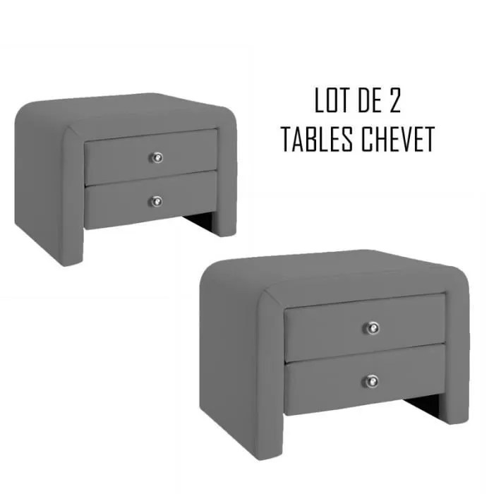table chevet design gris eva x2 achat