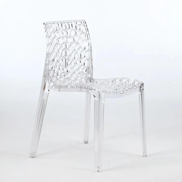 chaise transparente salle a manger cafe empilable nid d abeille grand soleil gruvyer couleur transpare