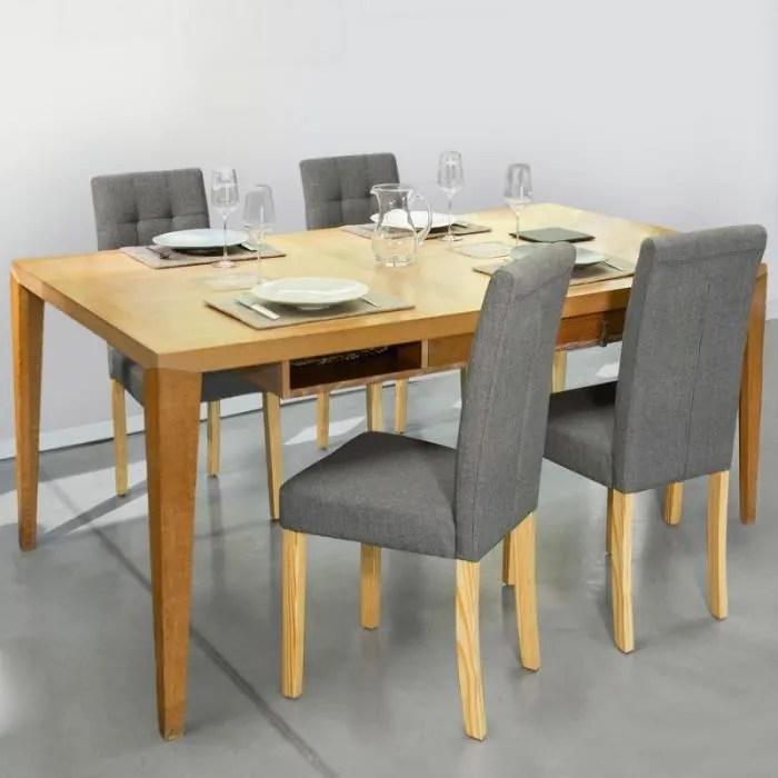lot de 4 chaises polga capitonnees grises