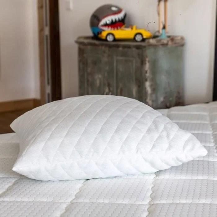 oreiller a memoire de forme 60x60 memo soft flocons de mousse memoire de forme