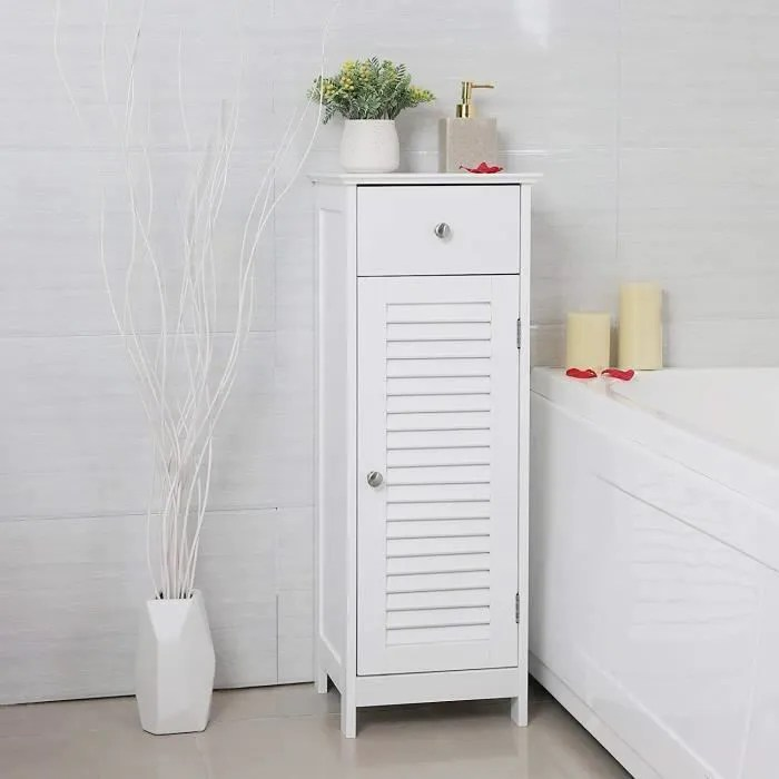 vasagle meuble bas salle de bain meuble de rangement blanc armoire d angle 1 tiroir 2 casiers 32 x 30 x 87 cm bbc43wt