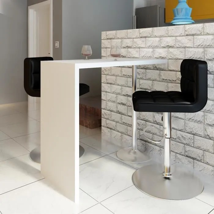p178 table blanche vernissee table de bar 1 pied